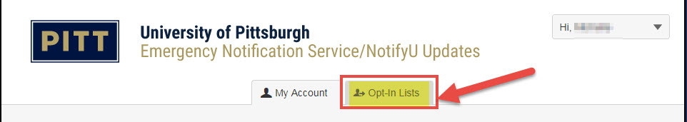 Image shows the Opt-In Lists tab highlighted when in the NotifyU platform.