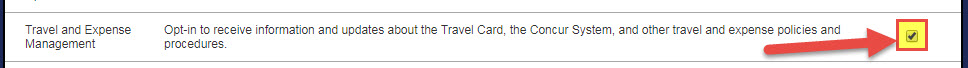 Image shows check box for the NotifyU Travel and Expense Management List
