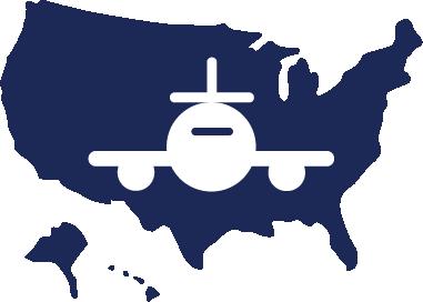 domestic travel - plane over usa - icon